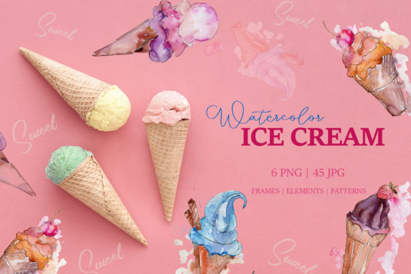 Print on Demand: Appetizing Ice Cream Watercolor Png Graphic Illustrations By MyStocks