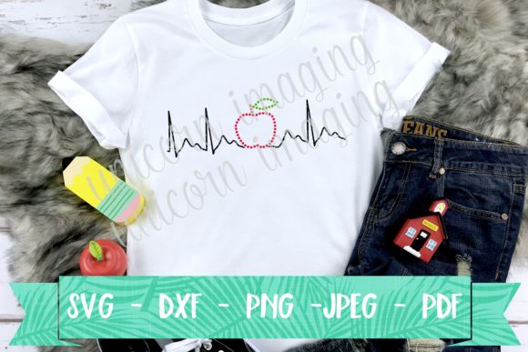 Download Free Apple Heart Beat Teacher Graphic By Unicorn Imaging Creative for Cricut Explore, Silhouette and other cutting machines.