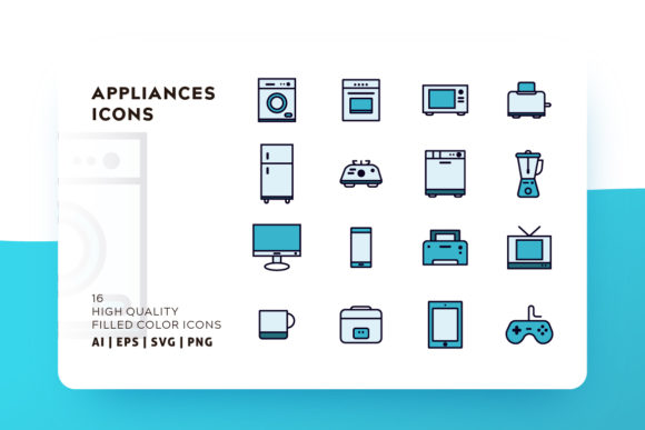 Appliances Icons Filled Graphic By Goodware.Std Image 1