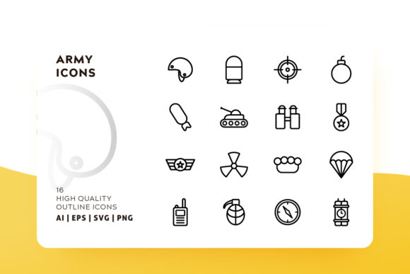 Download Free Army Icon Pack Graphic By Goodware Std Creative Fabrica for Cricut Explore, Silhouette and other cutting machines.