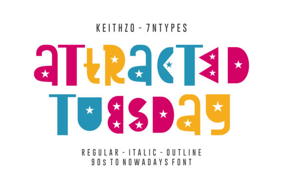 Print on Demand: Attracted Tuesday Display Font By Keithzo (7NTypes)