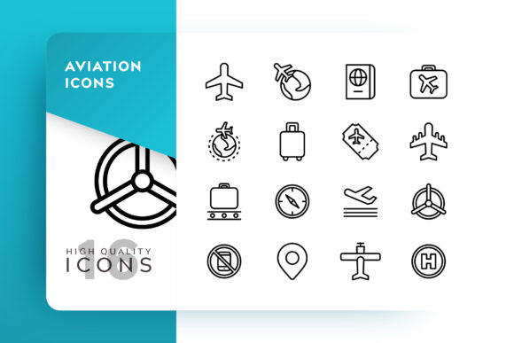 Print on Demand: Aviation Icon Pack Graphic Icons By Goodware.Std - Image 1