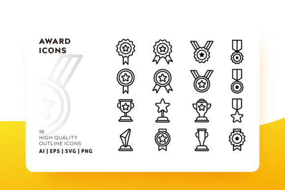 Print on Demand: Award Outline Icon Pack Graphic Icons By Goodware.Std