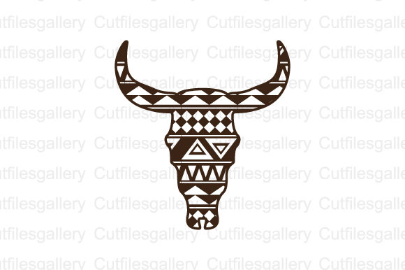 Download Free Aztec Bull Skull Svg Graphic By Cutfilesgallery Creative Fabrica for Cricut Explore, Silhouette and other cutting machines.