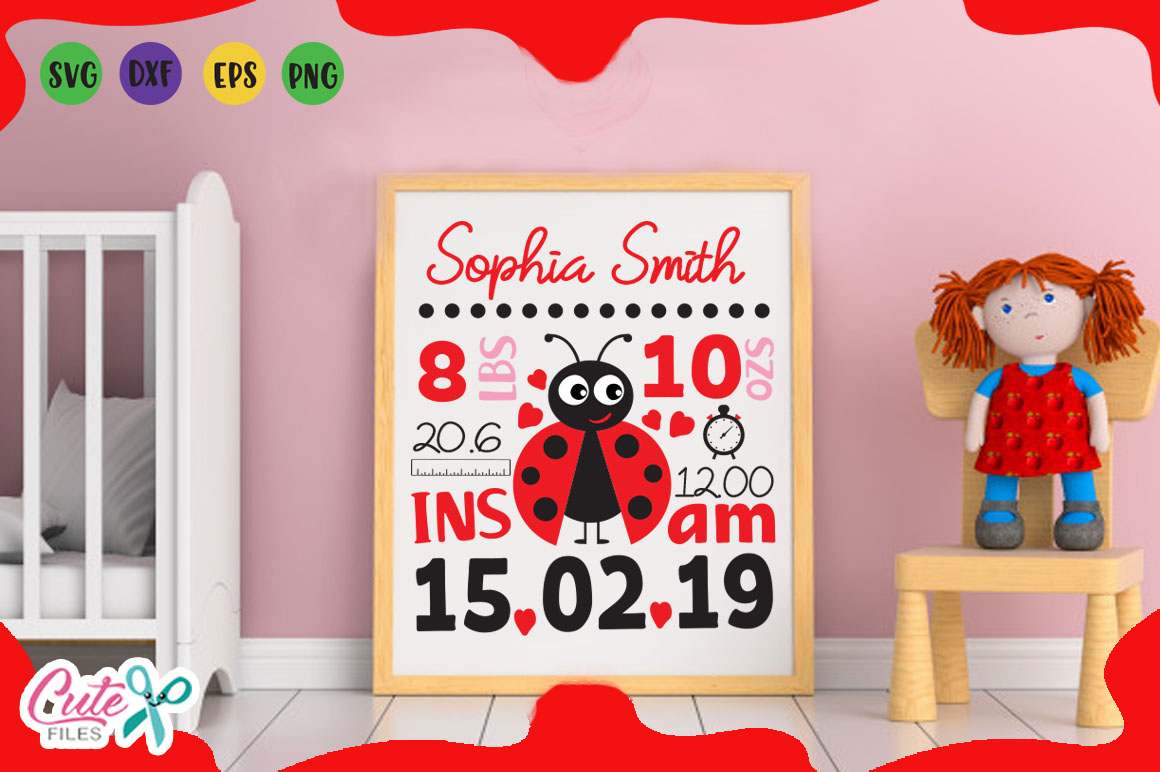 Download Free Baby Birth Announcement Graphic By Cute Files Creative Fabrica for Cricut Explore, Silhouette and other cutting machines.
