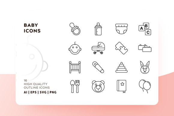 Print on Demand: Baby Outline Icon Pack Graphic Icons By Goodware.Std