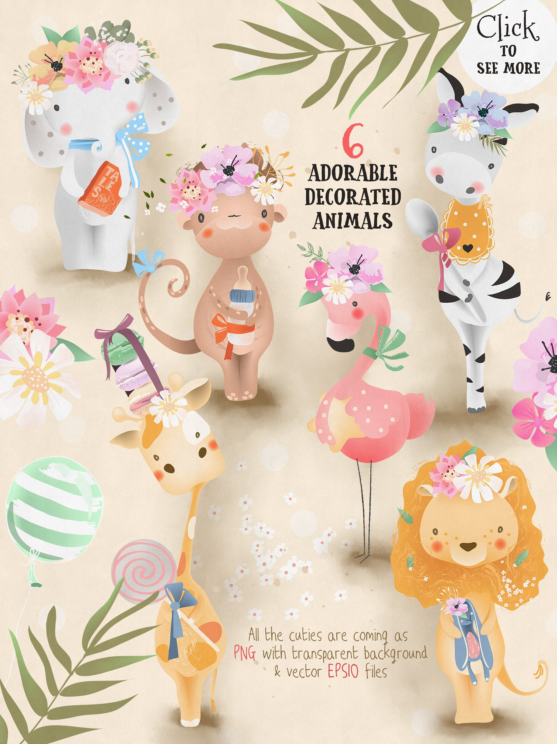 Download Free Baby Safari Collection Graphic By Anna Babich Creative Fabrica for Cricut Explore, Silhouette and other cutting machines.