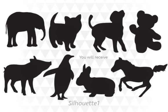 Baby Animals Silhouette Graphic Illustrations By ApexDesign