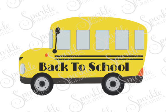 Back to School Bus Cut File Graphic Crafts By Sparkle Graphics