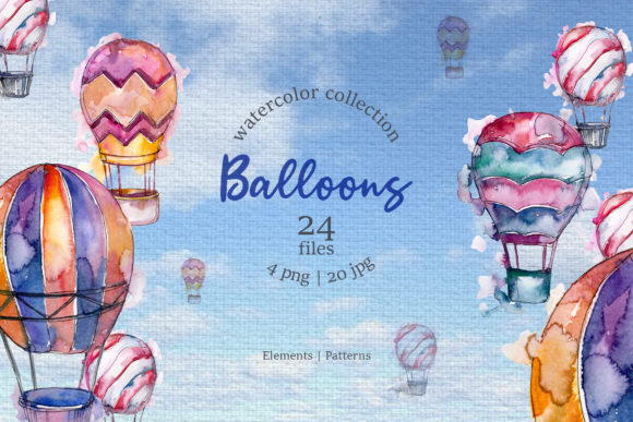 Print on Demand: Balloons Watercolor Blue Graphic Illustrations By MyStocks