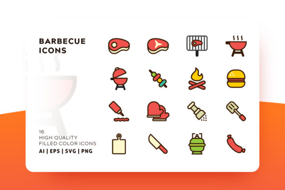 Barbecue and Grill Icon Pack Graphic