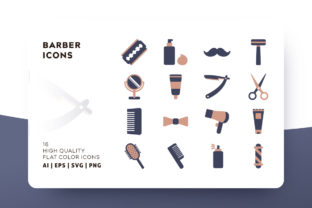 Barber Flat Icon Pack Graphic By Goodware.Std