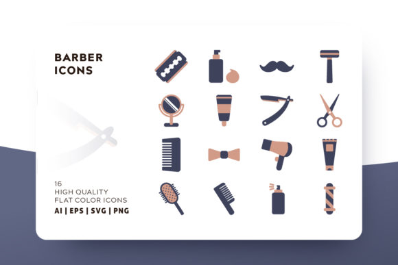 Barber Flat Icon Pack Graphic Icons By Goodware.Std