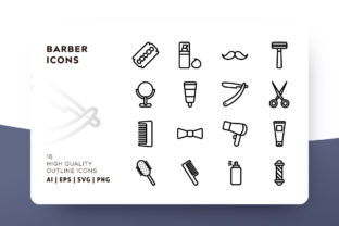 Barber Outline Icon Pack Graphic By Goodware.Std