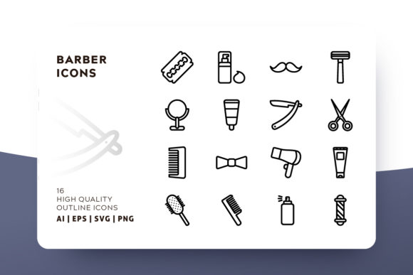 Barber Outline Icon Pack Graphic Icons By Goodware.Std