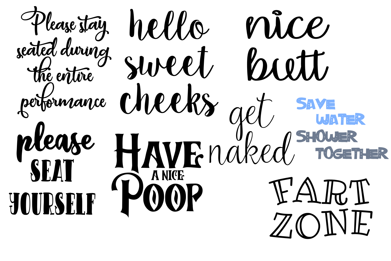 Download Free Bathroom Signs Bundle Graphic By Auntie Inappropriate Designs for Cricut Explore, Silhouette and other cutting machines.