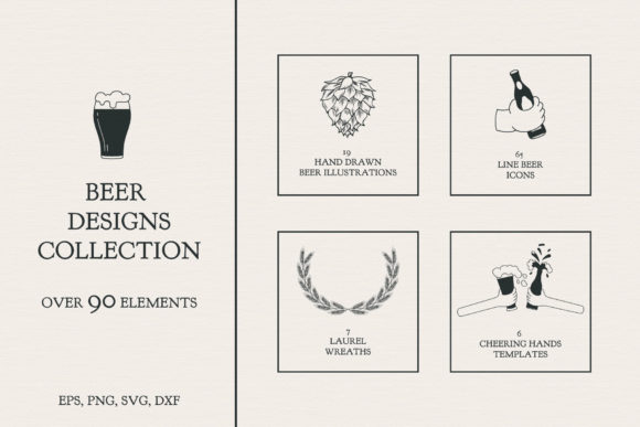 Beer Designs Collection Graphic Illustrations By Kirill's Workshop