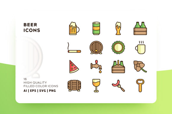 Beer Icons Filled Graphic By Goodware.Std Image 1
