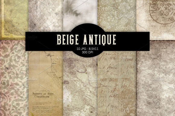 Download Free Beige Antique Digital Papers Graphic By Ramandu Creative Fabrica for Cricut Explore, Silhouette and other cutting machines.