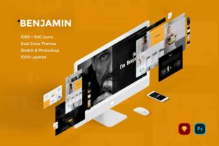 Print on Demand: Benjamin Creative Website UI Kit Graphic UX and UI Kits By Webhance