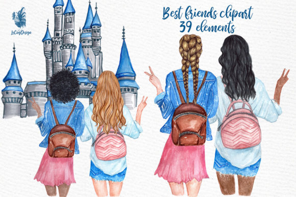 Best Friends Girls Clip Art Graphic Illustrations By LeCoqDesign - Image 1
