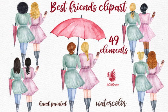 Best Friends Soul Sisters Clipart Graphic Illustrations By LeCoqDesign