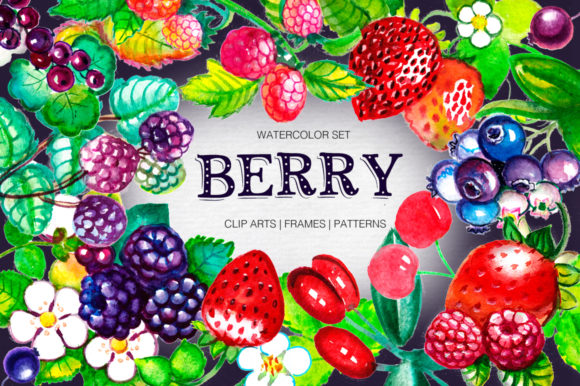 Print on Demand: Big Watercolor Berry Set Graphic Illustrations By Red Ink - Image 1