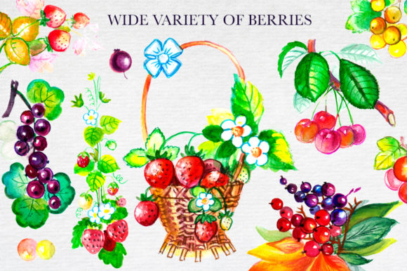 Print on Demand: Big Watercolor Berry Set Graphic Illustrations By Red Ink - Image 7