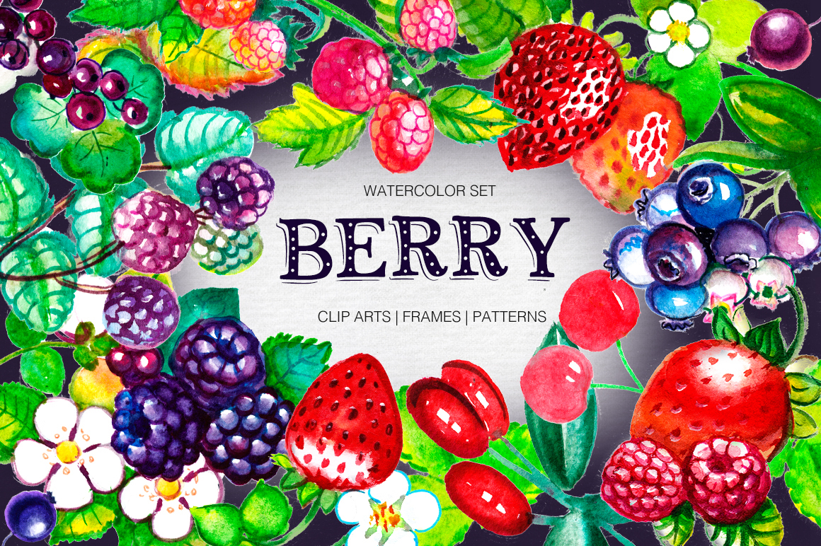 Download Free Big Watercolor Berry Set Graphic By Red Ink Creative Fabrica for Cricut Explore, Silhouette and other cutting machines.