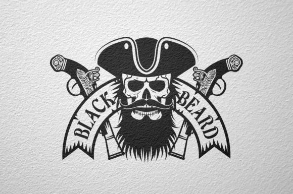 Black Beard Pirate Logo Graphic By Agor2012