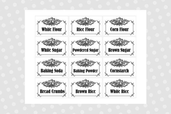 graphic regarding Printable Pantry Labels titled Black White Printable Pantry Labels