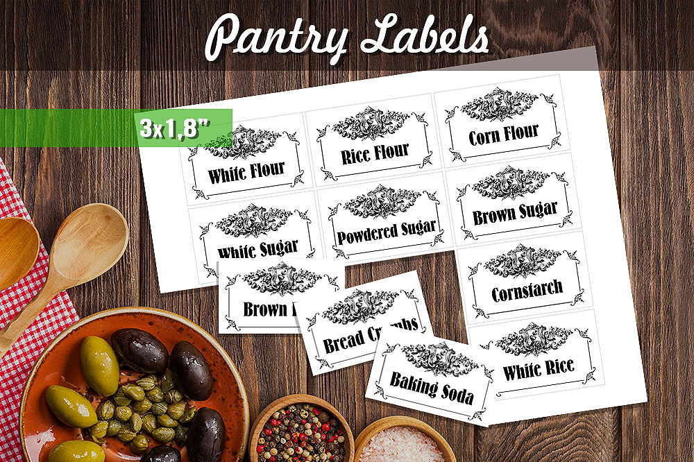 Download Free Black White Printable Pantry Labels Graphic By for Cricut Explore, Silhouette and other cutting machines.