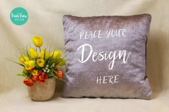 Print on Demand: Blank Gray Square Mockup Pillow Graphic Product Mockups By Pixel View Design