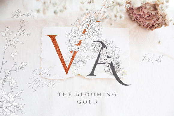 Print on Demand: Blooming Gold Floral Letters Numbers Graphic Illustrations By Olya.Creative