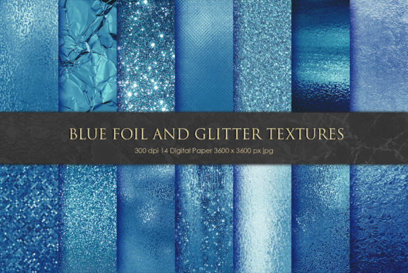 Print on Demand: Beautiful Blue Foil and Glitter Textures Graphic Textures By Creative Paper - Image 1