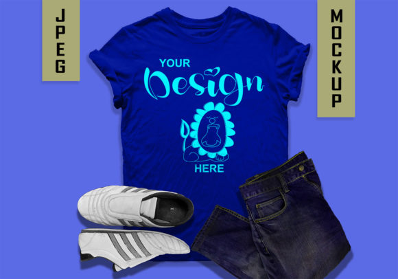 Blue T-shirt Mockup Jpeg Graphic Product Mockups By MidmagArt