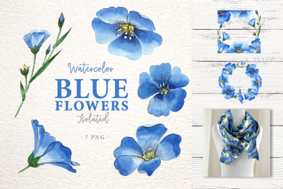 Print on Demand: Blue Flowers of Flax Watercolor Png Graphic Illustrations By MyStocks