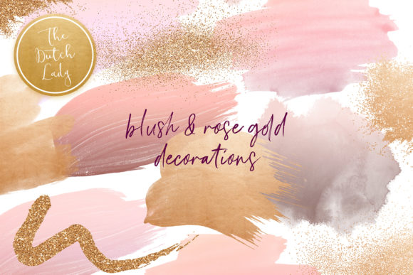 Print on Demand: Blush & Rose Gold Decoration Clipart Set Gráfico Crafts Por daphnepopuliers