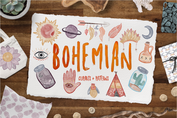 Print on Demand: Bohemian Bundle + 330 Elements Graphic Illustrations By arausidp