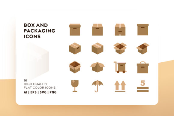 Print on Demand: Box and Packaging Icon Pack Graphic Icons By Goodware.Std - Image 1