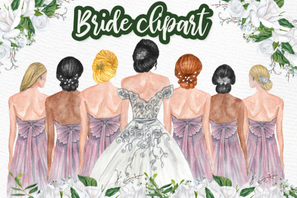Bride & Bridesmaids Clip-Art Graphic Illustrations By LeCoqDesign