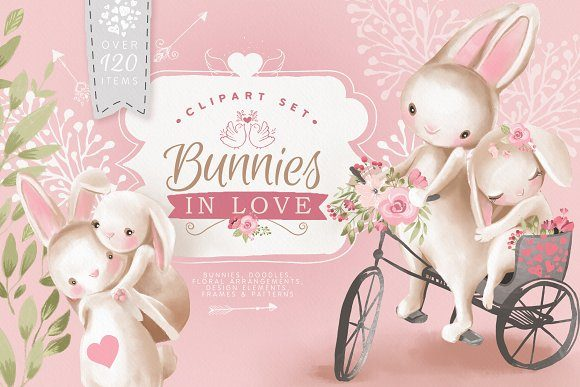 Download Free Bunnies In Love Graphic By Anna Babich Creative Fabrica for Cricut Explore, Silhouette and other cutting machines.