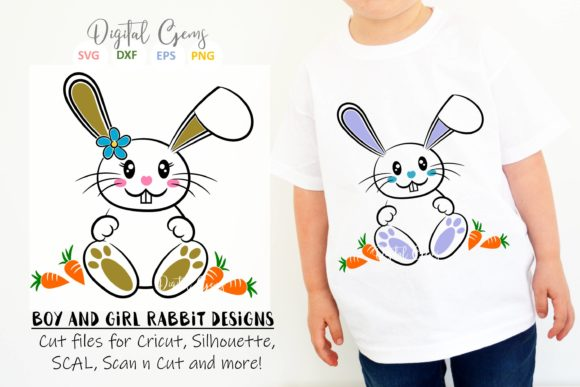 Download Free Bunny Rabbit Easter Designs Graphic By Digital Gems Creative for Cricut Explore, Silhouette and other cutting machines.