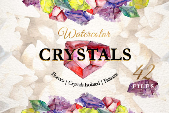 Print on Demand: Watercolor Handdrawn Crystals Graphic Illustrations By MyStocks
