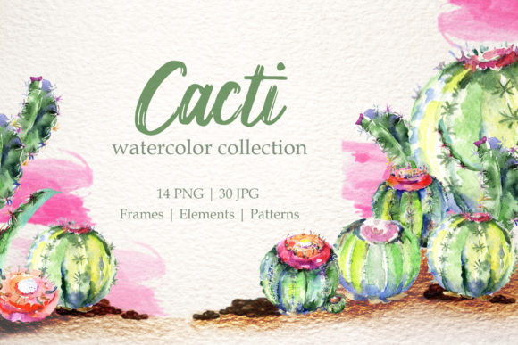 Download Free Cacti Watercolor Clipart Graphic By Mystocks Creative Fabrica for Cricut Explore, Silhouette and other cutting machines.
