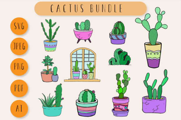 Download Free Cactus Clip Art Graphic By Nomad Hustler Creative Fabrica for Cricut Explore, Silhouette and other cutting machines.