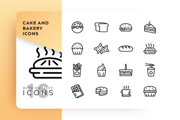 Print on Demand: Cake and Bakery Icon Pack Graphic Icons By Goodware.Std