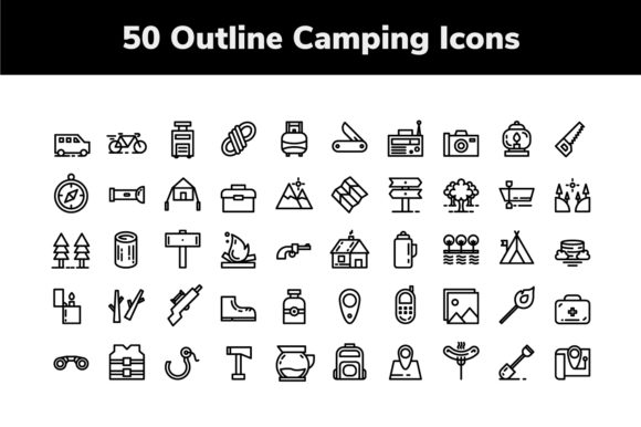 Download Free Camping Outline Icons Graphic By Icon Stale Creative Fabrica for Cricut Explore, Silhouette and other cutting machines.