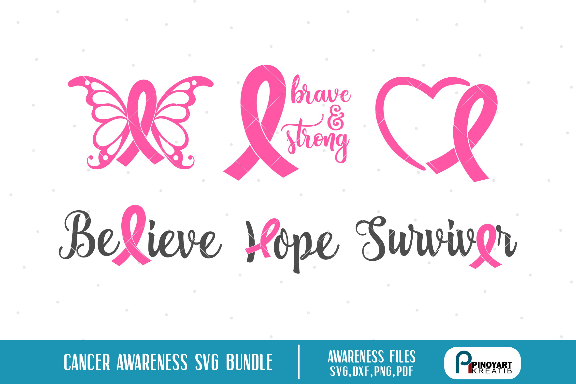 Download Free Cancer Awareness Bundle Graphic By Pinoyartkreatib Creative for Cricut Explore, Silhouette and other cutting machines.