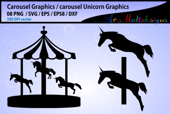 Download Free Carousel Silhouette Graphic By Arcs Multidesigns Creative Fabrica for Cricut Explore, Silhouette and other cutting machines.